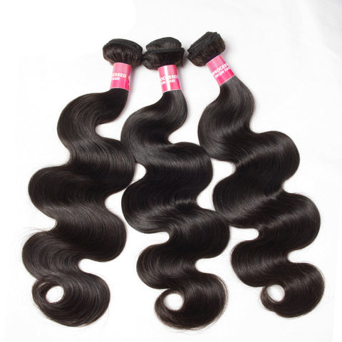 3pcs indian human hair body wave virgin hair extensions