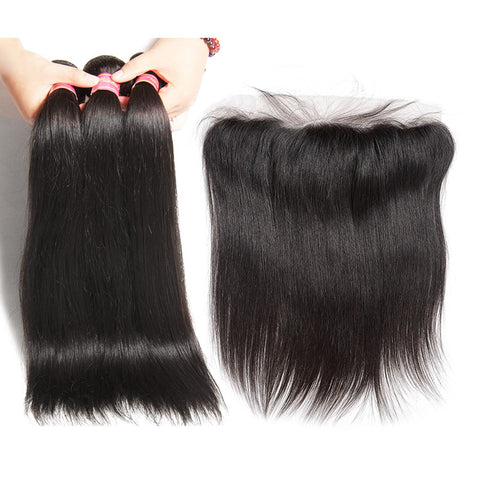 malaysian hair bundles 3 bundles with 13x4 preplucked frontal straight