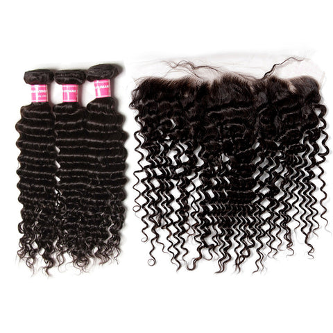 malaysian hair bundles 3 bundles with 13x4 preplucked lace frontal deep wave