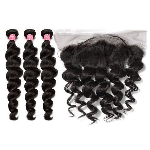 malaysian hair bundles 3 bundles with 13x4 preplucked lace frontal loose wave