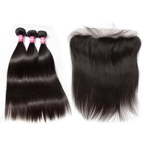 peruvian hair bundles 3 bundles with 13x4 lace frontal straight