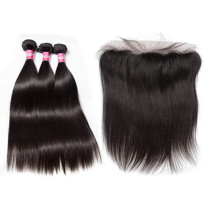 brazilian hair bundles 3 bundles with 13x4 lace frontal straight
