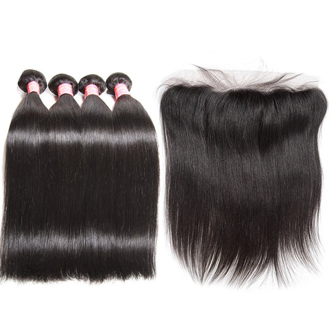 malaysian hair 4 bundles with 13x4 preplucked lace frontal straight hair