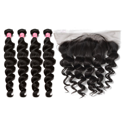 malaysian hair 4 bundles with 13x4 preplucked lace frontal loose wave