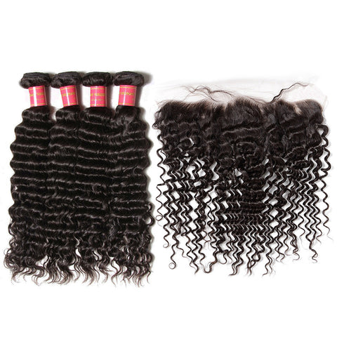 malaysian hair 4 bundles with 13x4 preplucked lace frontal deep wave