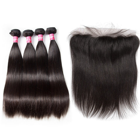 peruvian hair 4 bundles with 13x4 preplucked lace frontal straight hair