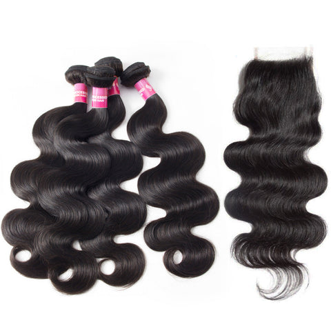 malaysian body wave closure with 4 bundles virgin hair extensions