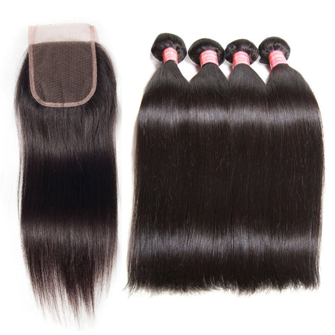 malaysian straight lace closure with 4 bundles virgin hair extensions