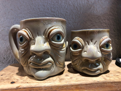 Mr Voorhees two handmade glass mugs solo work