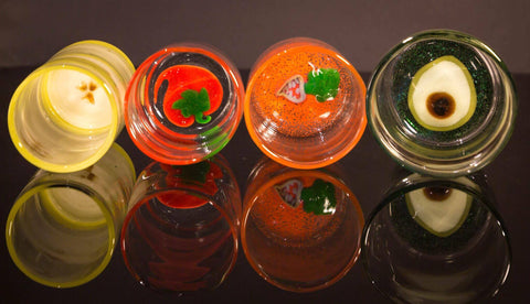 gina gaffner handmade glass blowing fruits and veggies cups