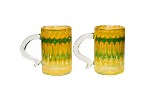 Yellow and Green Wrap and Rake Mug (Pair)