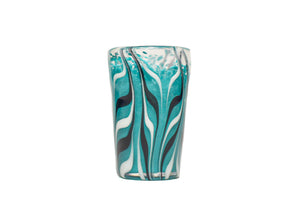 Aqua Feathered Shot Glass