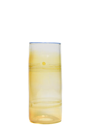 Light Blue Lipped Yellow Wrap Fumed Pint