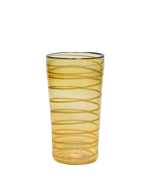 Olive Lipped Yellow Spiral Fumed Collins Cup