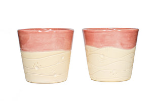 Red Wave Clay Slip Cast Stackable (Pair)