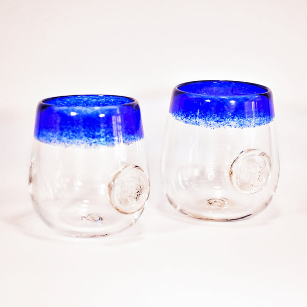 Frit Lip Soft Glass Cup Pair (Blue)