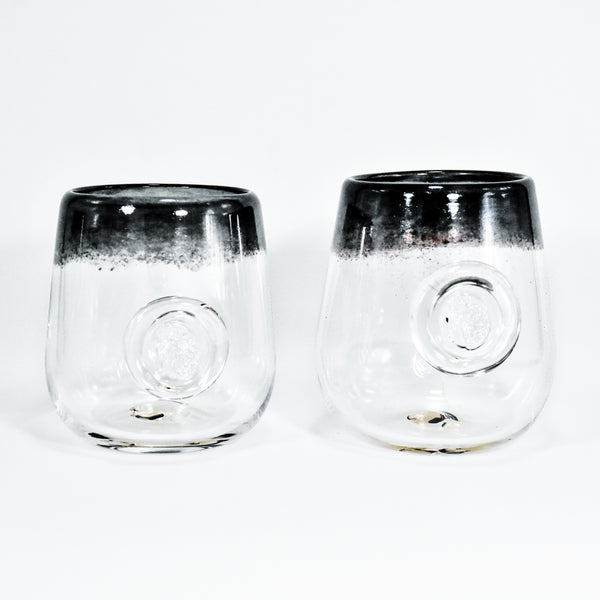 Frit Lip Soft Glass Cup Pair (Black)