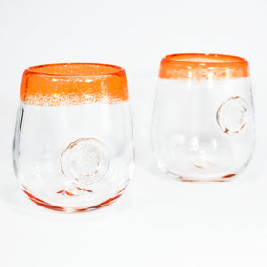 Frit Lip Soft Glass Cup Pair (Orange)