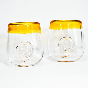 Frit Lip Soft Glass Cup Pair (Yellow)