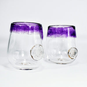 Frit Lip Soft Glass Cup Pair (Purple)