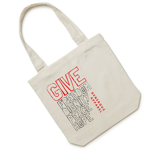 GIVE FREEDOM, DIGNITY, PEACE, HOPE Tote - Red