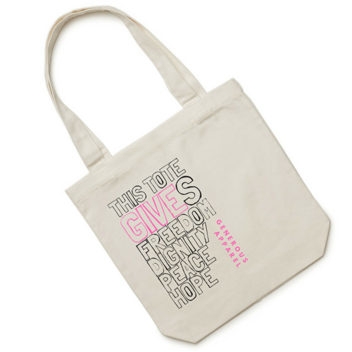 THIS TOTE GIVES FREEDOM, DIGNITY, PEACE, HOPE - Pink