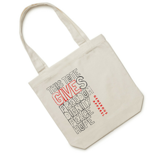 THIS TOTE GIVES FREEDOM, DIGNITY, PEACE, HOPE - Red