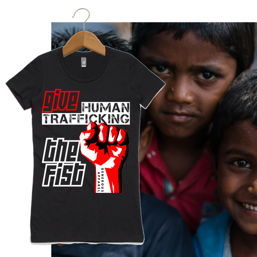 Girl's GIVE HUMAN TRAFFICKING THE FIST Tees-Black