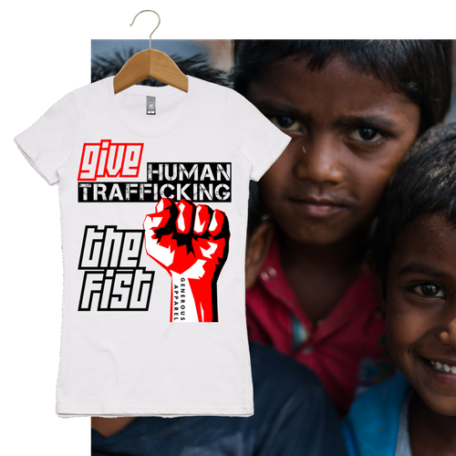 Girl's GIVE HUMAN TRAFFICKING THE FIST Tees-Light