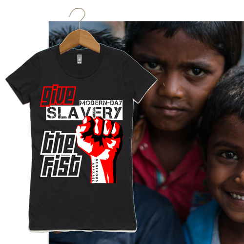 Girl's GIVE SLAVERY THE FIST Tees-Black