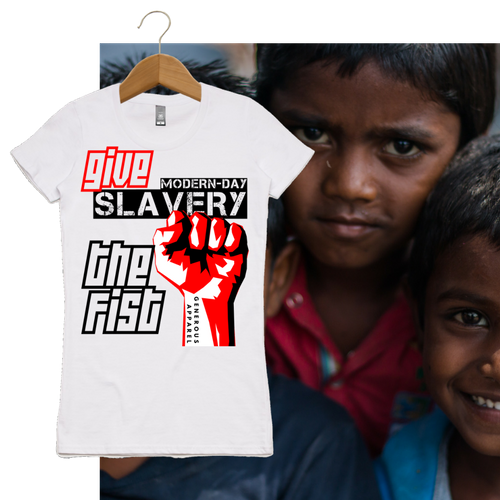 Girl's GIVE SLAVERY THE FIST Tees-Light