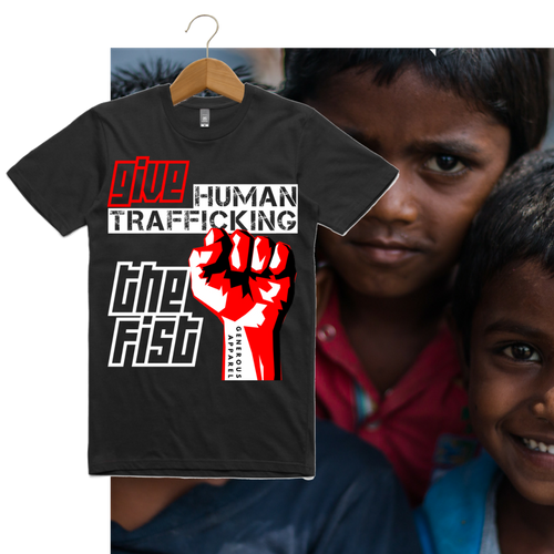 Guy's GIVE HUMAN TRAFFICKING THE FIST Tees-Black