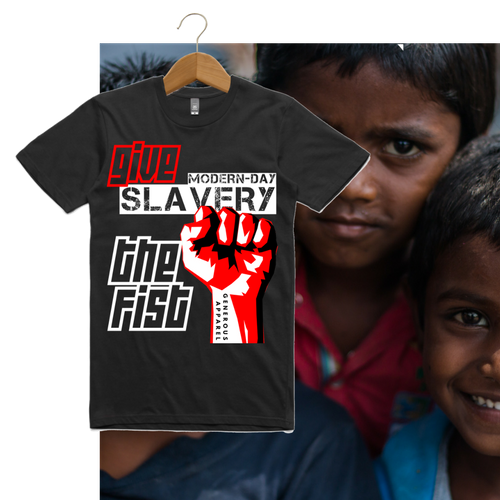 Guy's GIVE SLAVERY THE FIST Tees-Black