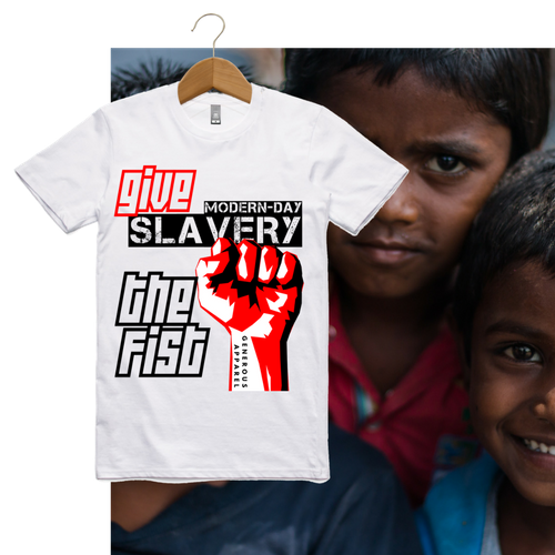 Guy's GIVE SLAVERY THE FIST Tees-Light