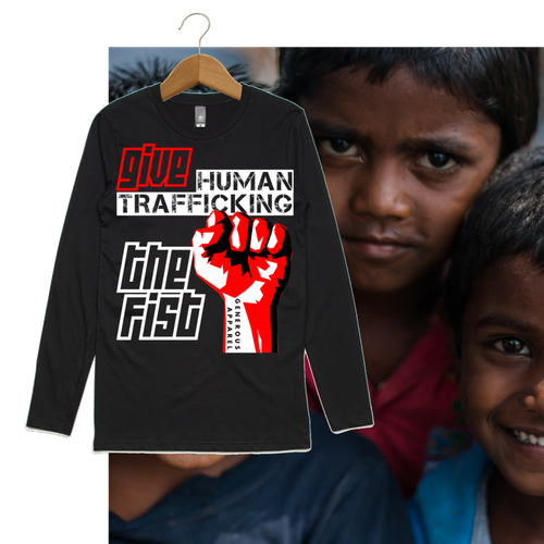 Guy's GIVE HUMAN TRAFFICKING THE FIST Long Sleeve Tee-Black