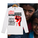 Guy's GIVE HUMAN TRAFFICKING THE FIST Long Sleeve Tee-Light