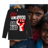Guy's GIVE SLAVERY THE FIST Long Sleeve Tee-Black