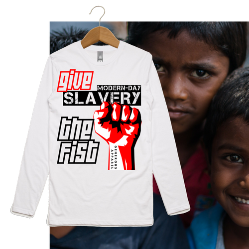 Guy's GIVE SLAVERY THE FIST Long Sleeve Tee-Light