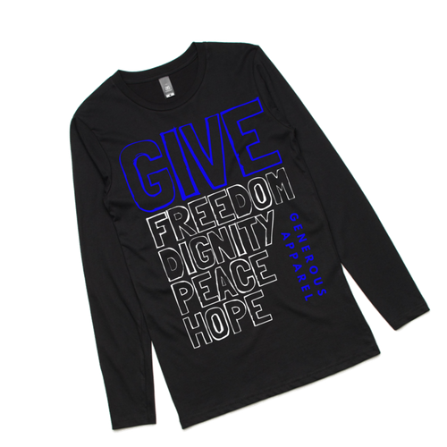 Guy's GIVE FREEDOM Long Sleeve Tee - White Design