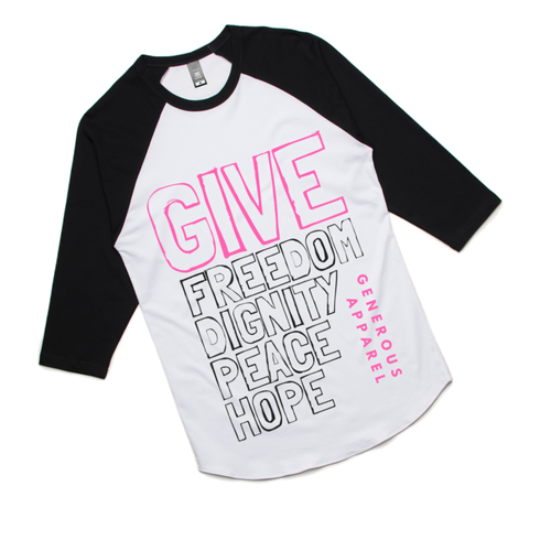 GIVE FREEDOM - Unisex 3/4 Sleeve Raglan - Pink Design
