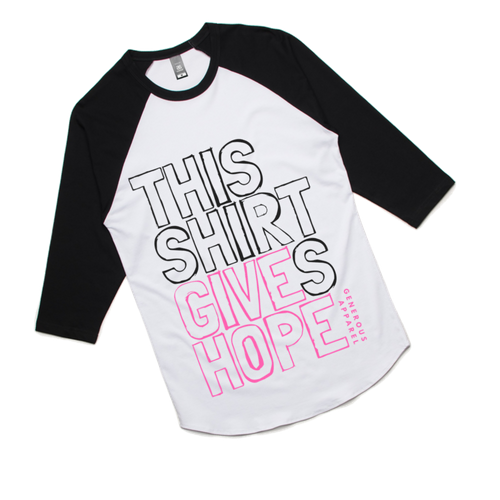 THIS SHIRT GIVES HOPE - Unisex 3/4 Sleeve Raglan - Pink Design