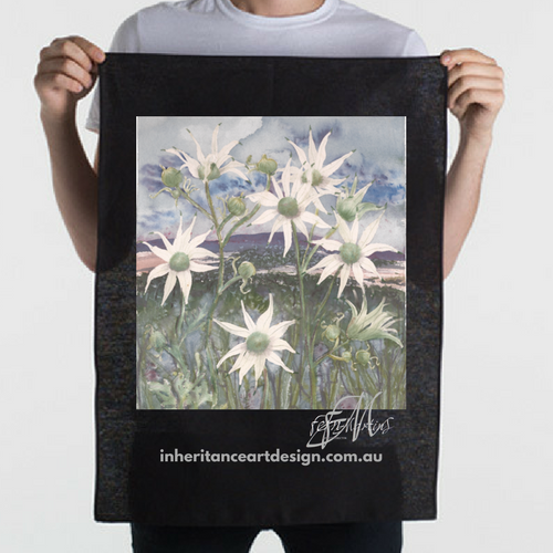 Flannel Flower Cotton/Linen Tea Towel - Black
