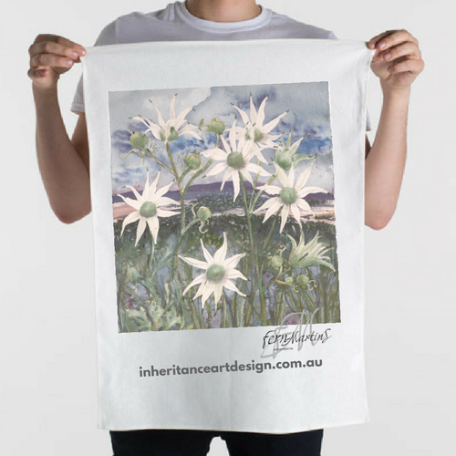 Flannel Flower Cotton/Linen Tea Towel - White