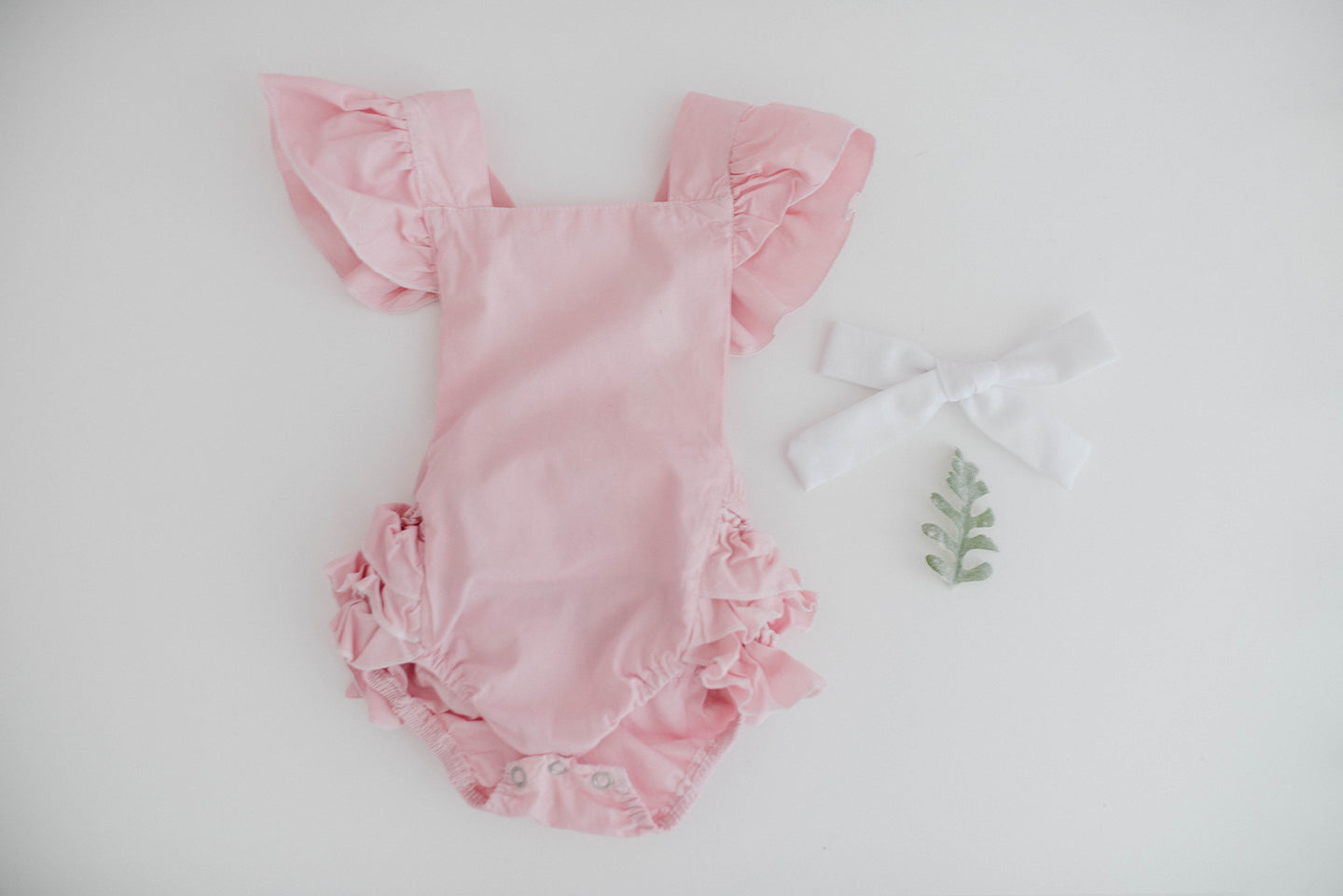 perfect pink hand dyed cotton ruffled romper