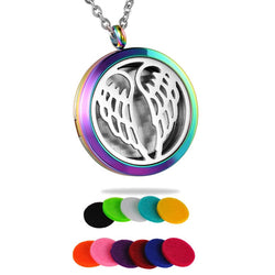 Yoga Angel Wings Aromatherapy Necklace Stainless Steel Essential Oils Diffuser Necklace - Essential Oil Accessories
