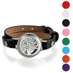 Leather wrap bracelet 25mm Stainless Steel Essential Oil Diffuser Life Tree Locket Aromatherapy( 8 pads For Free) - Essential Oil Accessories
