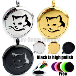 Classy Cat Essential Oils Diffuser Locket Necklace with Pads - Essential Oil Accessories
