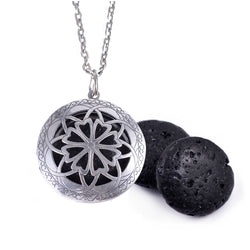 1Pc Antique Silver 20mm Oblate Lave Stone 25mm Felt Pads Diffuser Locket Necklace For  Essential Oil Necklace Jewelry Gift - Essential Oil Accessories