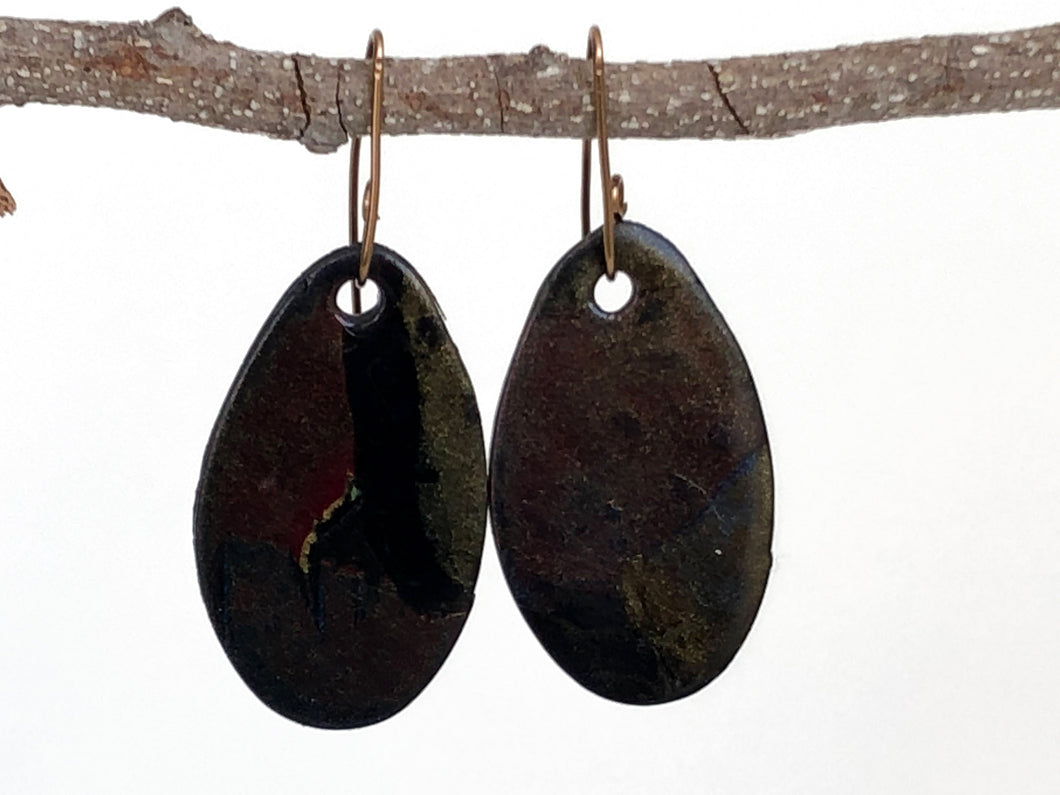 Cheryl Young Bronze Sparkle Oval Polymer Clay Earrings