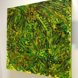 "Lexene Burns ""Green Flowers""Acrylic on Canvas"